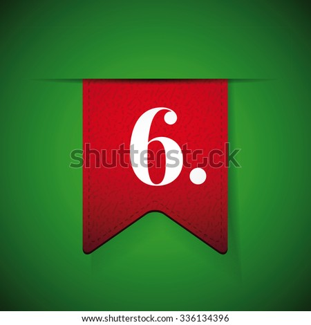 Number six on red vector ribbon - stock vector