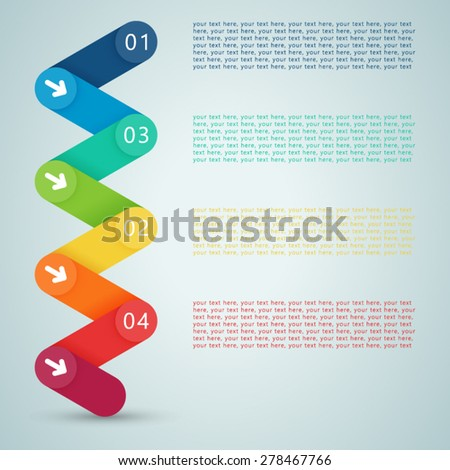 Number Steps 3d Info graphic 1 to 4