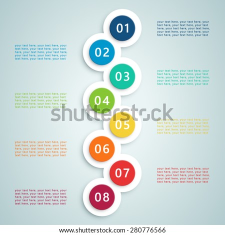 Number Steps Infographic 7 - stock vector
