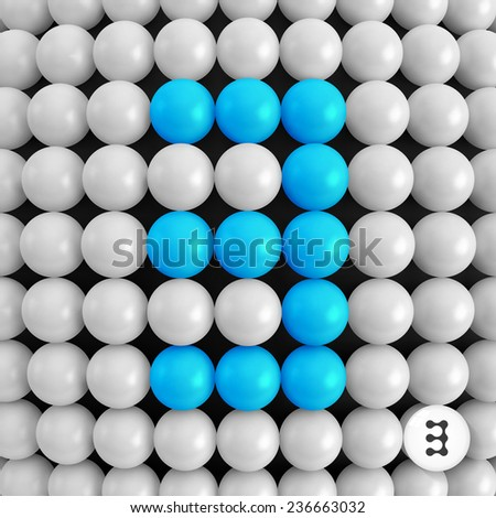 Number three. Abstract mathematics background. 3d vector illustration.  - stock vector