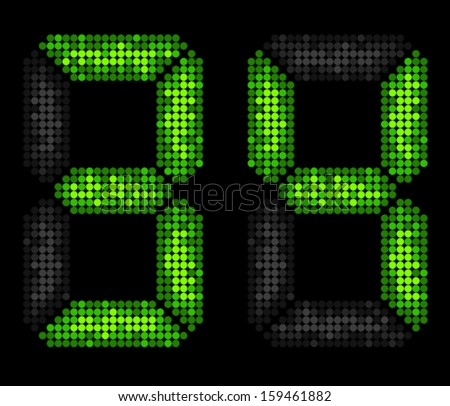 Number three and four made from LED points - stock vector