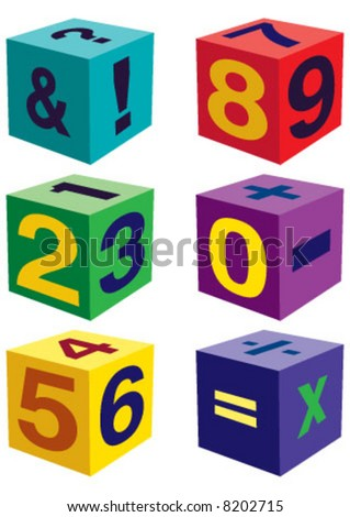 Number toys in cube shape - stock vector