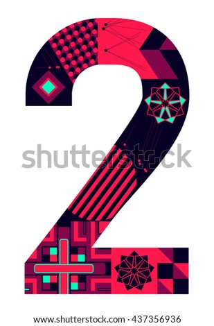 Number two from my collection - stock vector