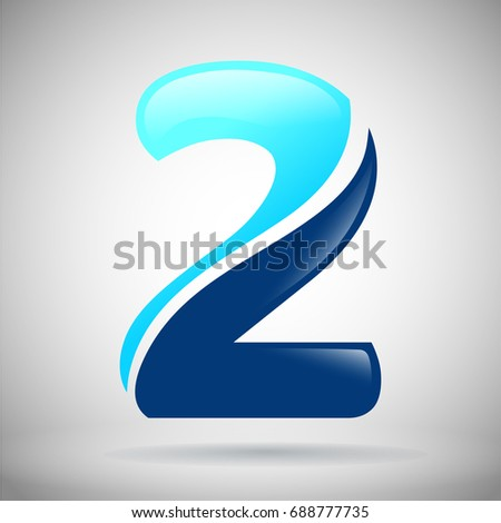 Number Two Logo. Blue And Light Blue Glossy Style. Vector Design Template  Elements For