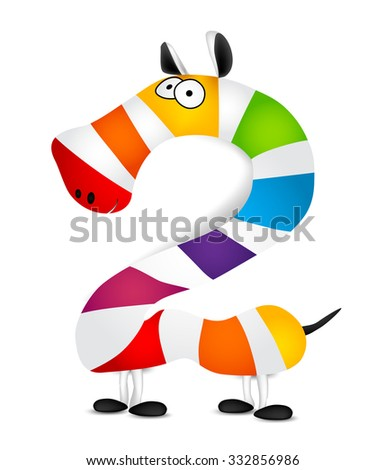 Number two. Made of colorful animal cartoon rainbow zebra. Vector - stock vector