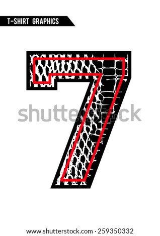 Number with animal skin,snake pattern filled in black and red colors - stock vector
