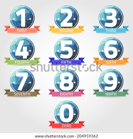 number with polygon label vector - stock vector