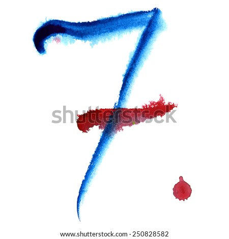 Number 7 written with a brush. Hand drawn letters. Watercolor. - stock vector