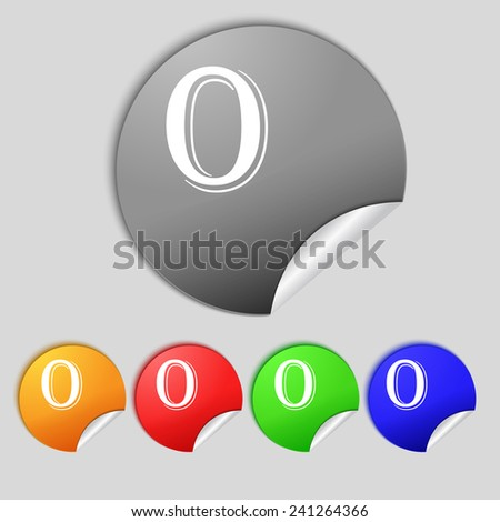 number zero icon sign. Set of coloured buttons. Vector illustration