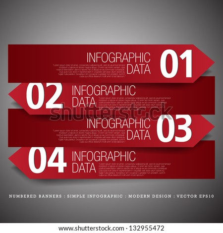 Numbered Banners Modern Design template used for infographics graphic or website layout vector - stock vector