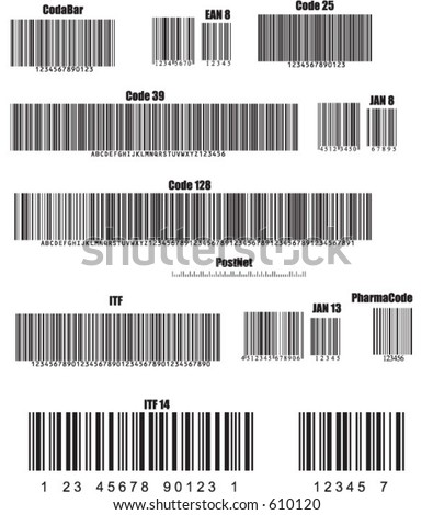 Numbered barcodes in various standards Not real and copyright