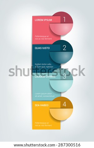 Numbered template. Infographics colummn banner. - stock vector