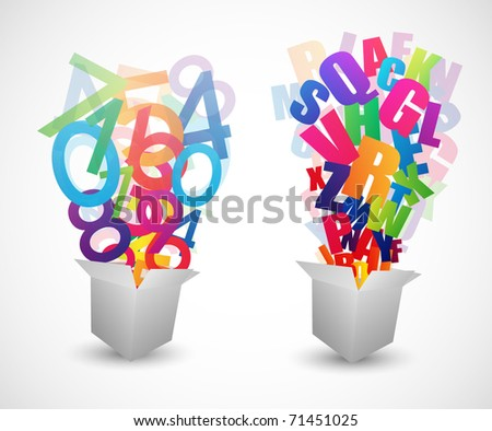 Numbers and Letters fly from box - stock vector