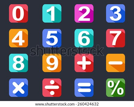 numbers and math long shadow icons set - stock vector