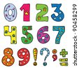 numbers and signs funny set - stock vector