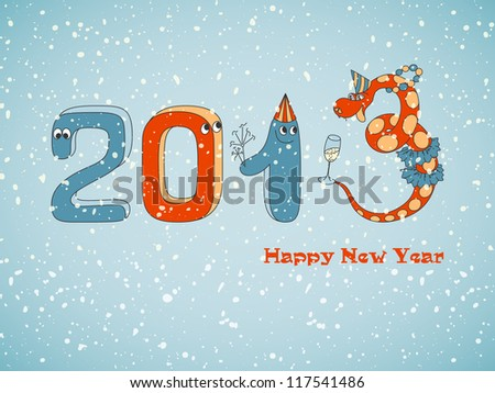 Numbers and snake with snowfall. Christmas card. Blue vintage background. Vector Illustration. - stock vector