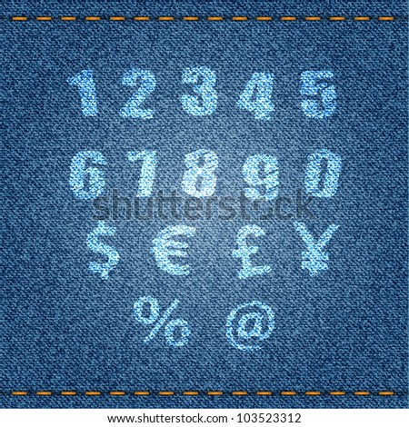 Numbers and symbols on blue jeans background. Vector eps10 illustration. - stock vector
