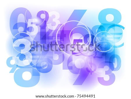 numbers background as blue abstract - stock vector
