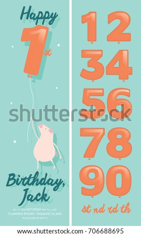 Numbers balloon kids birthday invitation card stock vector 2018 numbers balloon kids birthday invitation card stock vector 2018 706688695 shutterstock stopboris Images