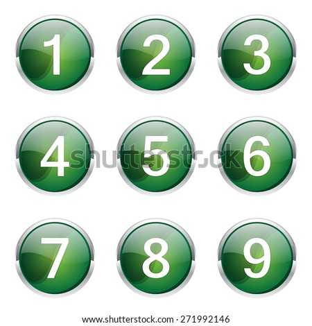 Numbers Counting Green Vector Button Icon Design Set - stock vector