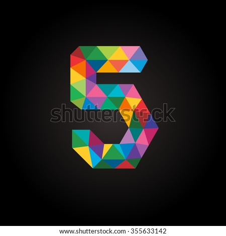 Numbers five (5) in modern polygonal crystal style. Vector illustration colorful bright design. Formed by triangles. For party poster, greeting card, banner & invitation. Cute numerical icons & signs. - stock vector
