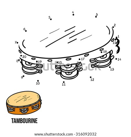Numbers game for children: musical instruments (tambourine)  - stock vector