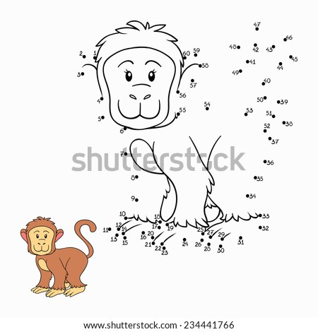 Numbers game (monkey) - stock vector
