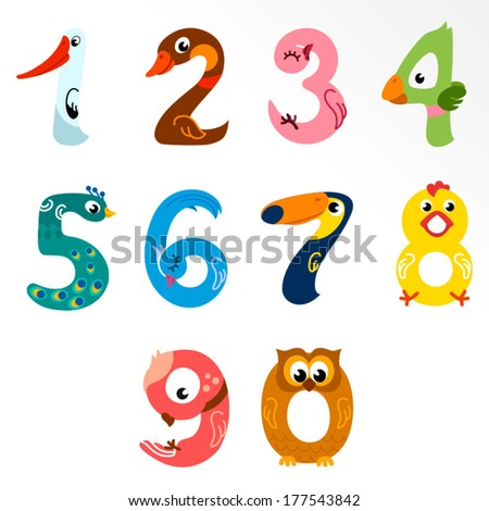 Numbers like birds / Solid fill illustration in EPS 8 format - stock vector