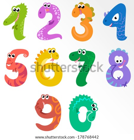 Numbers like dinosaur / Solid fill illustration in EPS 8 format - stock vector
