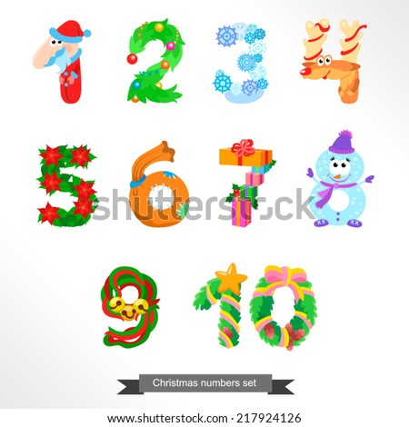 Numbers like symbols of the Christmas / Solid fill vector cartoon illustration - stock vector