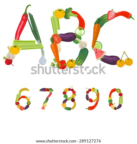 Numbers made of fruits and vegetables - stock vector