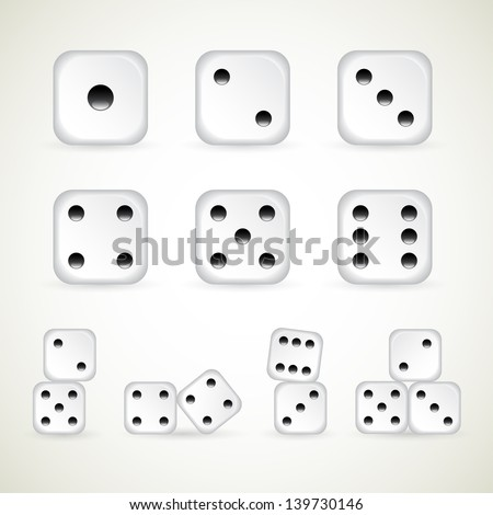 numbers of dice. vector (1-10 count) - stock vector