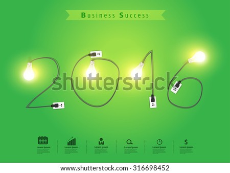 Numbers of New Year 2016 with creative light bulb idea, Vector illustration modern design template - stock vector