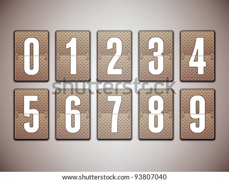 Numbers on mechanical scoreboard - detailed vector design - stock vector
