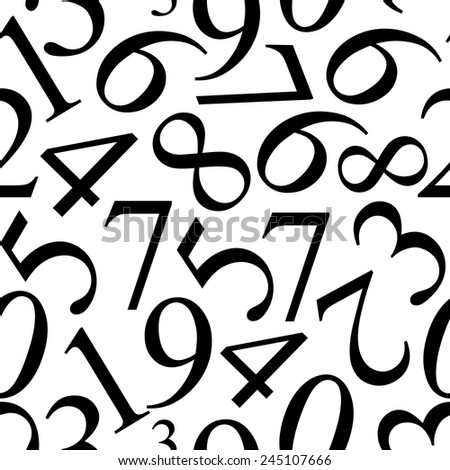 Numbers Seamless Pattern Background Vector Illustration - stock vector