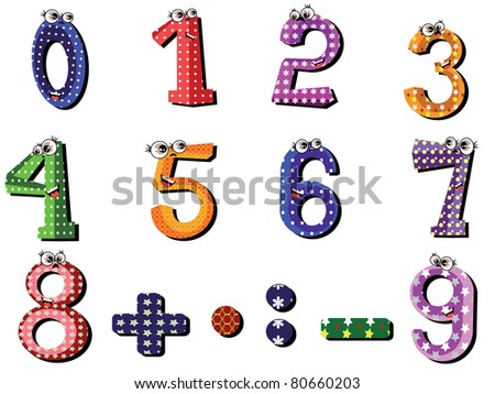 Numbers set,cartoon,vector - stock vector