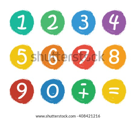 Numbers set.Colorful icons with numbers isolated on white background