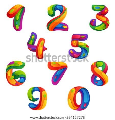 Numbers set volume splash style vector stock vector for Blueprint number