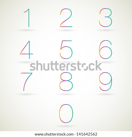Numbers set modern style. Vector illustration. - stock vector