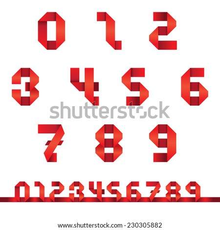 Numbers Set : Origami Style - stock vector