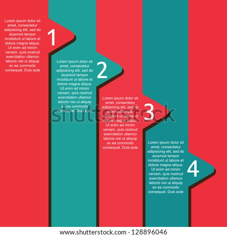 Numbers template over blue and red background - stock vector