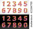 numbers, vector colorful flower font on black and white - stock vector