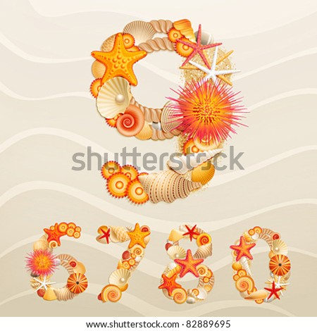 Numbers, vector sea life font on sand background. Check my portfolio for letters. - stock vector