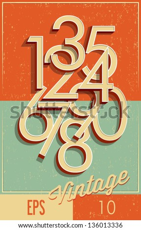 Numbers vintage style - stock vector