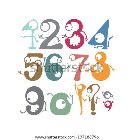 Numbers with funny monsters - stock vector