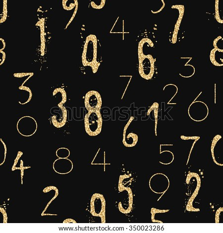 Numeral seamless gold pattern with glitter sparkle surface. Shimmer sequins digit black background. - stock vector