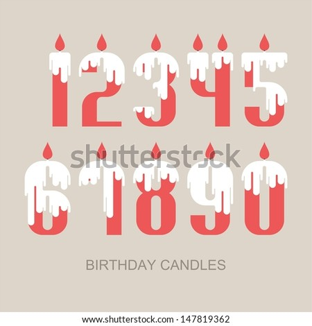 Numeral set - birthday candles - stock vector
