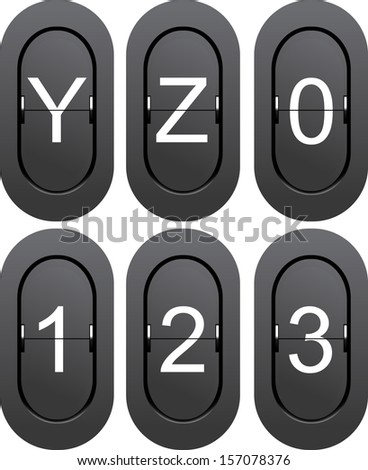 Numeric series 0 to 1 from mechanical scoreboard and letters