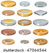 Numismatic money collection of various metal coins, Vector illustration without gradients - stock photo