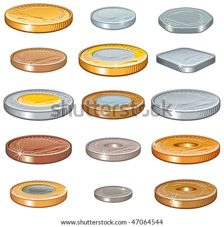 Numismatic money collection of various metal coins, Vector illustration without gradients - stock vector